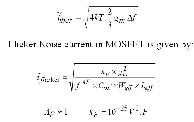 VLSI Design: Noise analysis in Amplifier Circuits